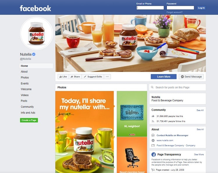 Nutella Facebook social media website