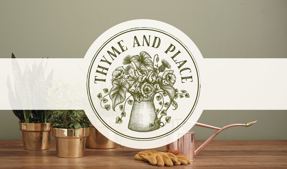 "round, rustic-looking stamp image of flowers and leaves in a jug with the text ""Thyme and Place"""