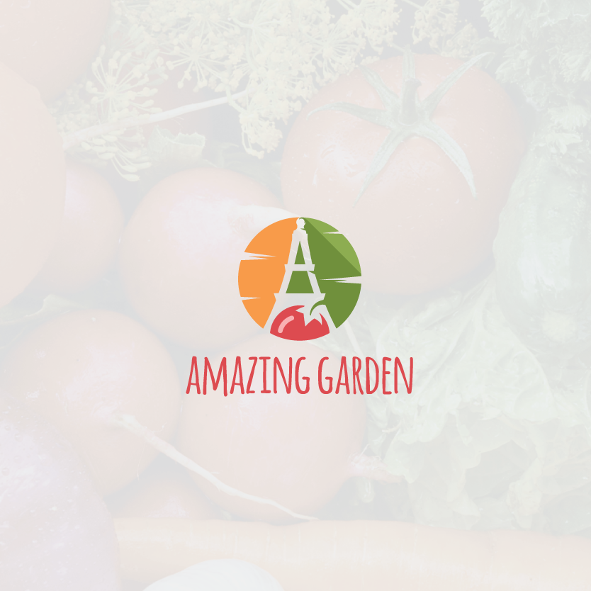 "stylized letter A in the negative space between a tomato, a carrot and a cucumber with the text ""Amazing Garden"""