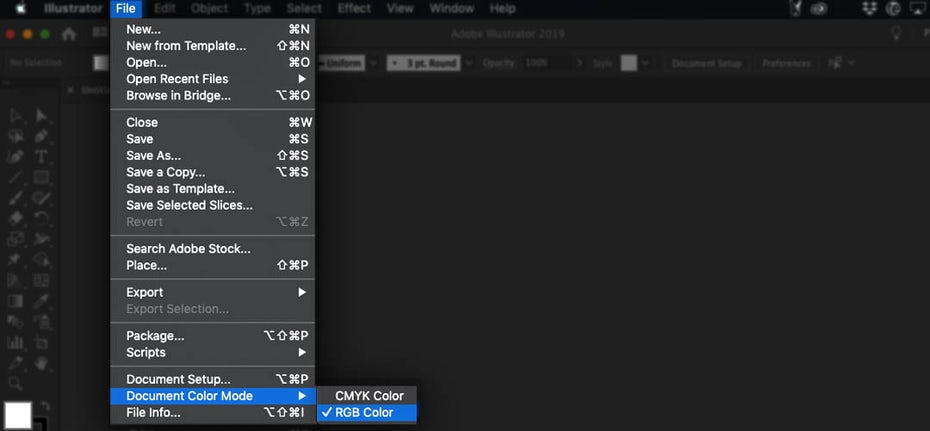 Screenshot showing how to check the color mode in Illustrator