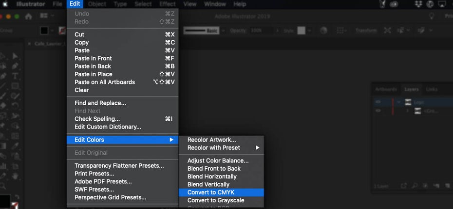 Screenshot showing how to convert an Illustrator document's color mode