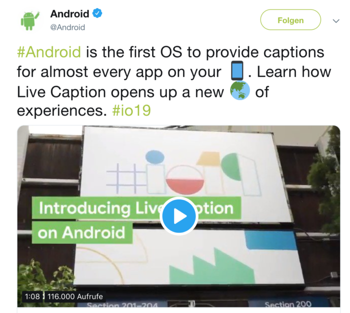 screenshot of android video posted on twitter