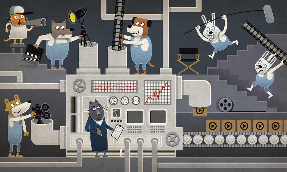 cartoon illustration of animals working in a factory illustrating how to make a video