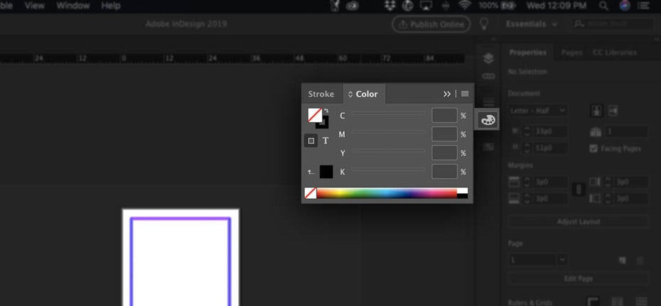 Screenshot showing how to check the color mode in InDesign