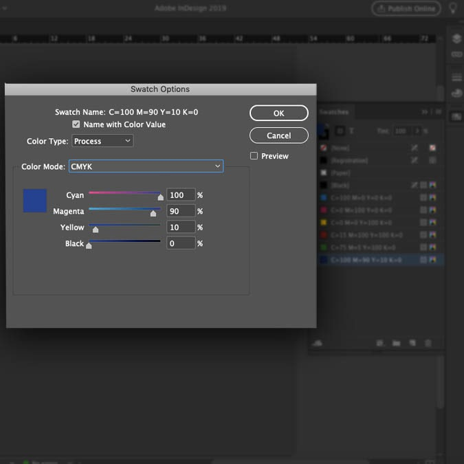 Screenshot showing how to change the color mode of individual swatches in InDesign