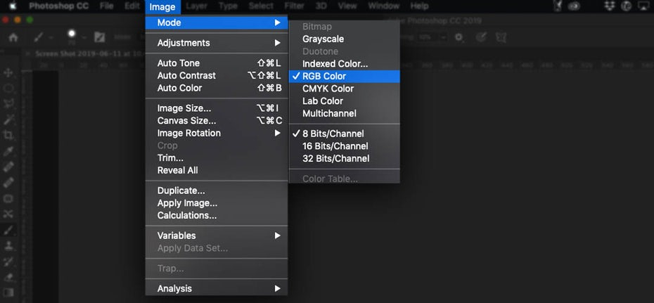 Screenshot showing how to check the color mode in Photoshop