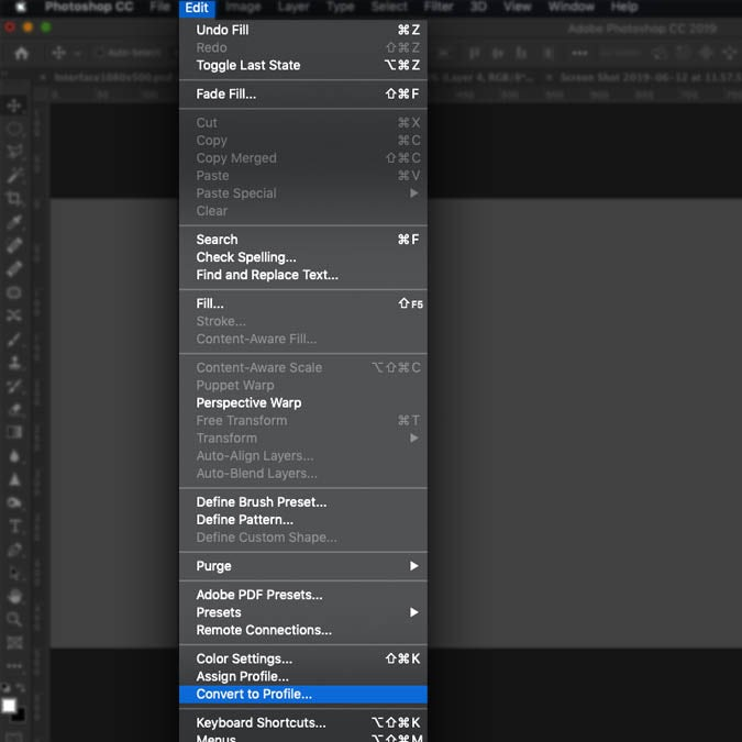 Screenshot showing the first step in converting a Photoshop document's color mode