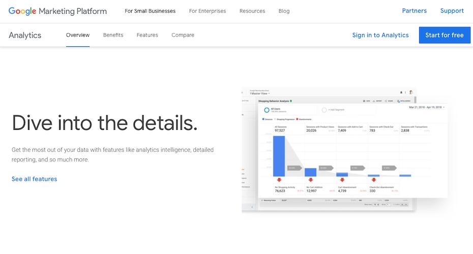 google analytics homepage data