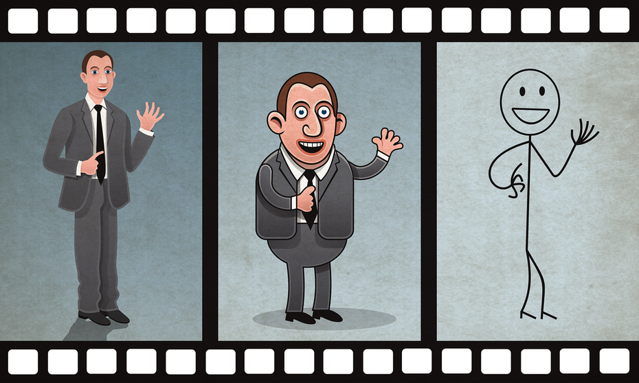 illustration of film strip showing different video styles using a stick figure, cartoon character and live person