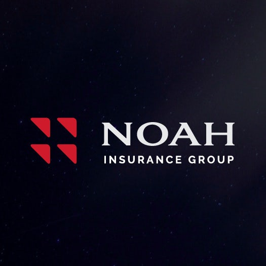 "four red triangles arranged in a square beside the name ""Noah Insurance Group"""
