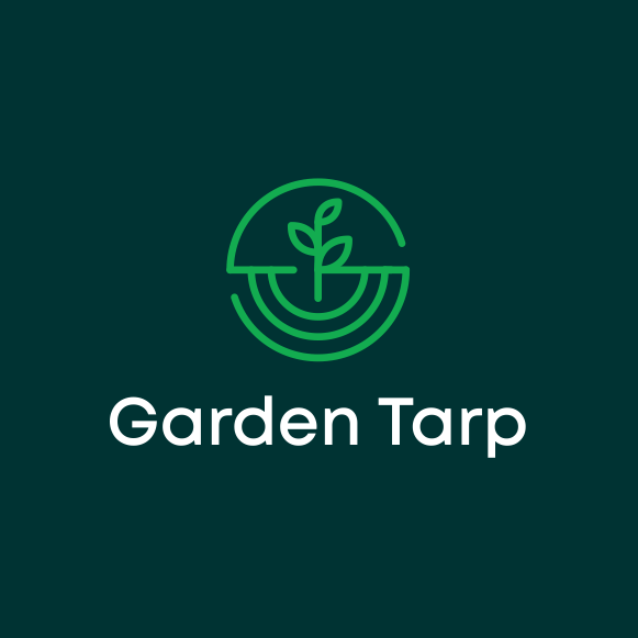 "geometric logo of a circle around a plant growing in dirt depicted via line art and the text ""Garden Tarp"""