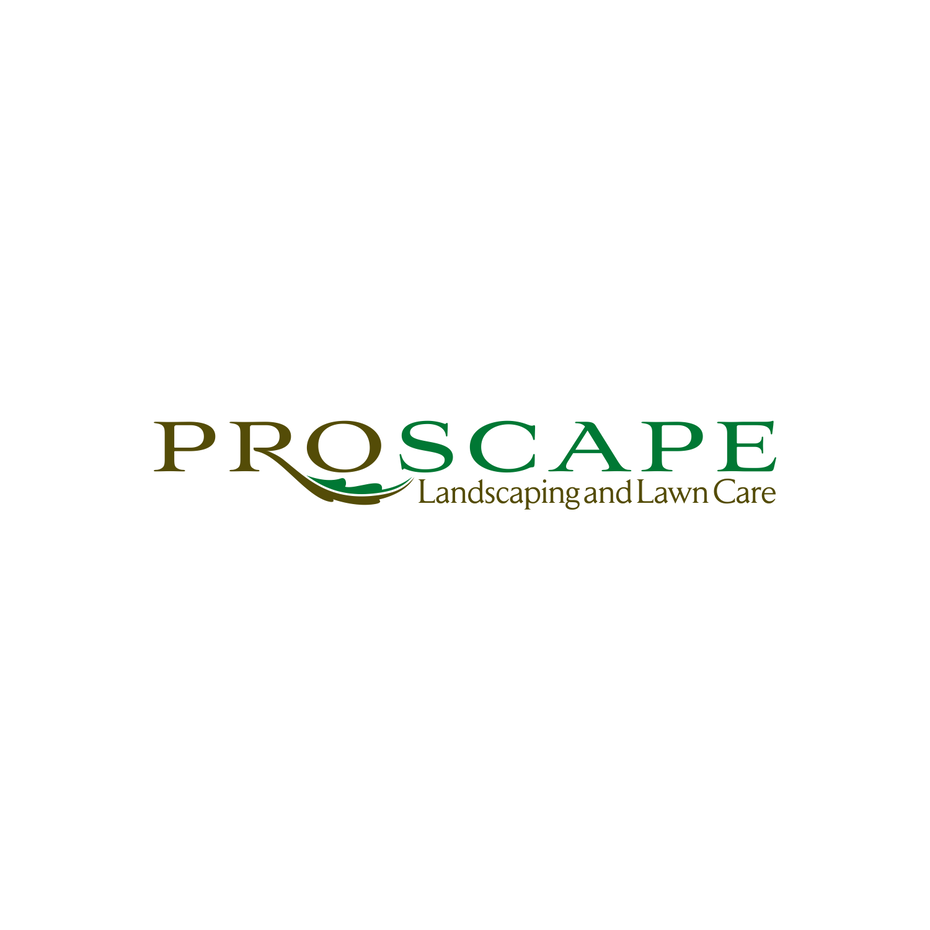 "the words ""ProScape Landscaping and Lawn Care"" in two shades of green"