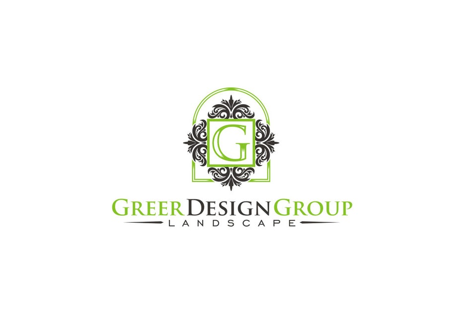 "intricate green and gray shapes surrounding the letter G with the text ""Greer Design Group Landscaping"""