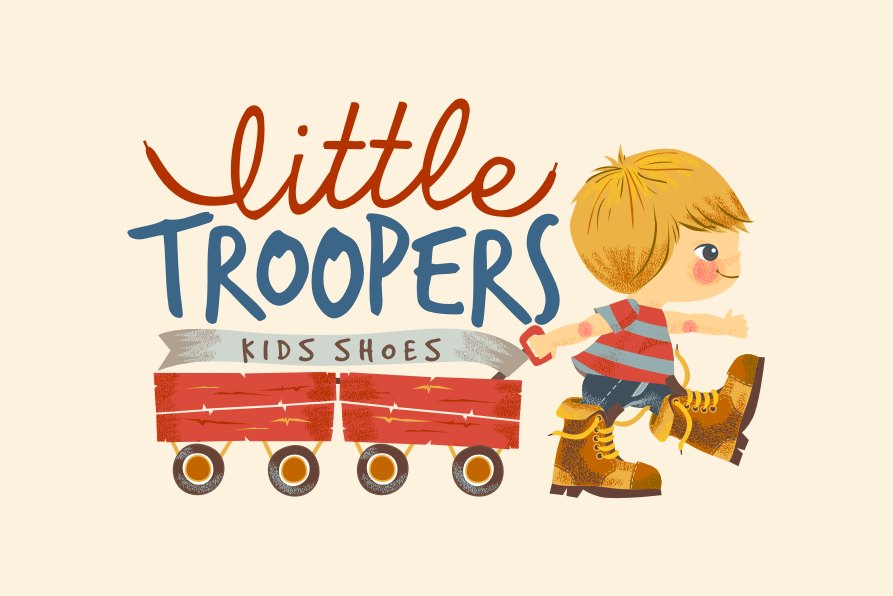 child wearing boots pulling toy cart logo