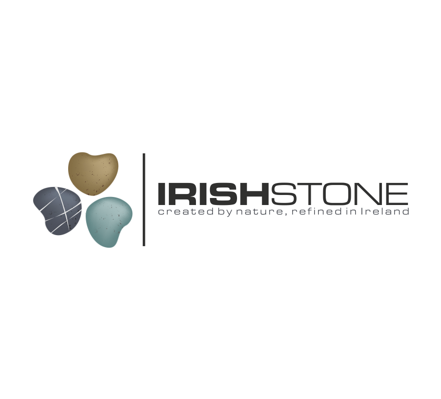 "image of a clover made up of three different stones and the text ""Irish Stone"""