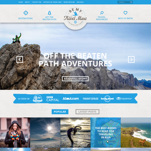 Be My Travel Muse web page design