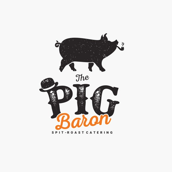 vintage catering logo with pig illustration