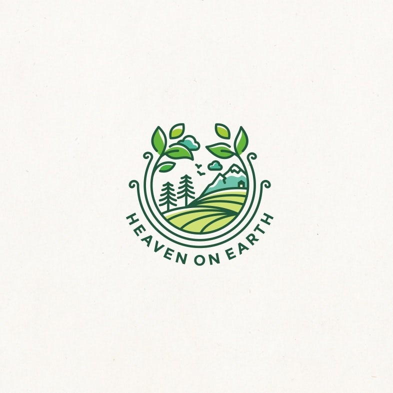 "round logo showing illustrated tree and mountains circled by plants with the text ""Heaven on Earth"""