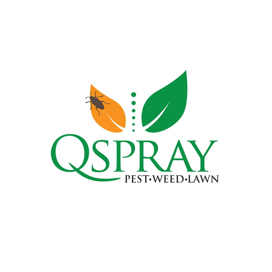 "two leaves, one orange with a bug on it and one green, with the text ""QSpray Pest Weed Lawn"""
