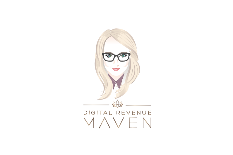 oval logo showing a drawing of a woman's face along with her name
