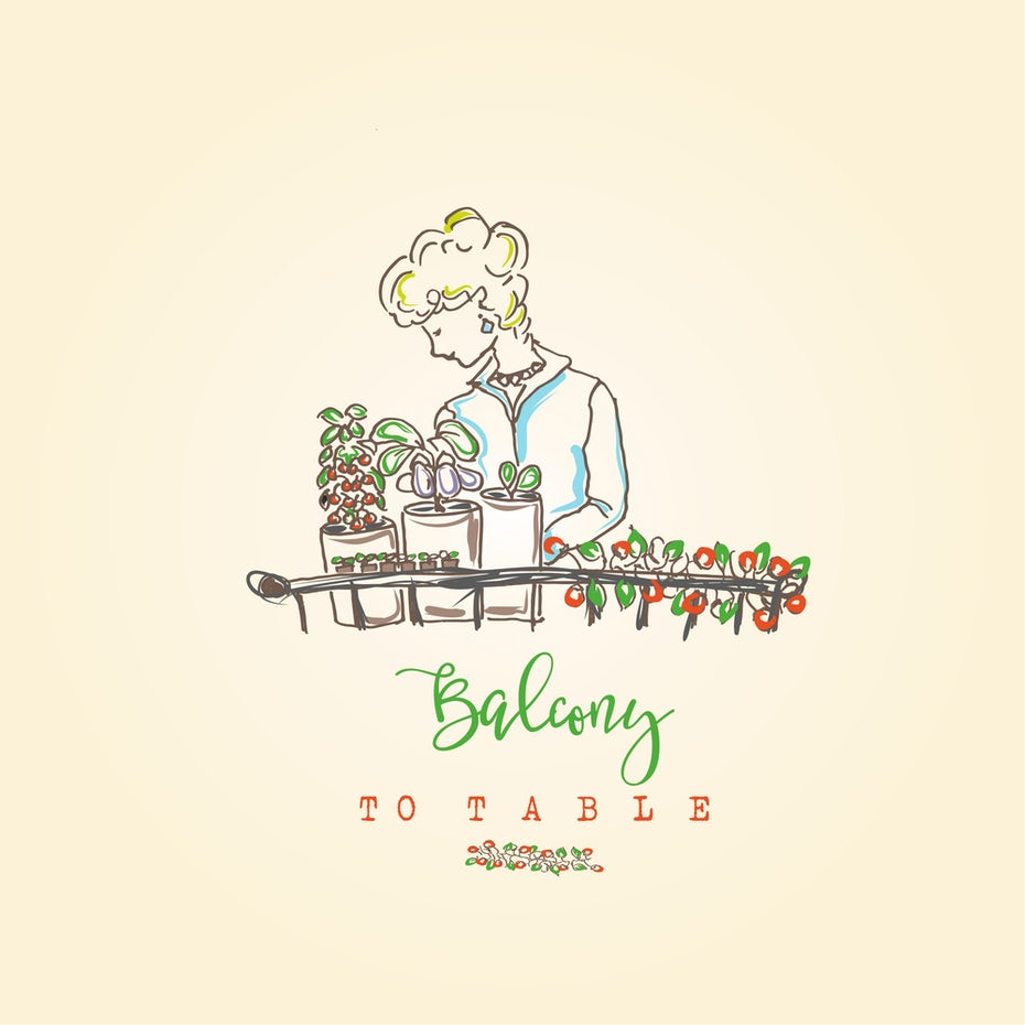 "line drawing of a woman tending to succulents with the text ""balcony to table"""