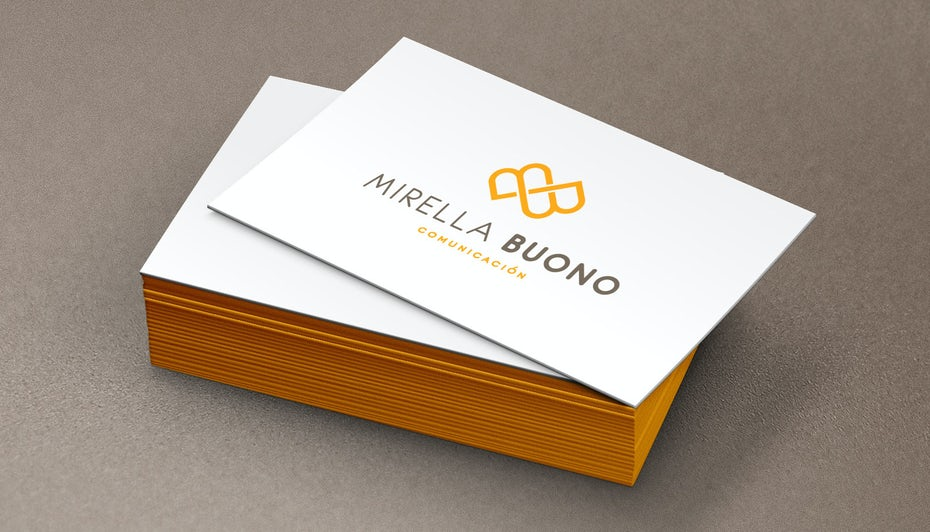 "consultant logo with two intertwined gold letter ""B""s on business card"