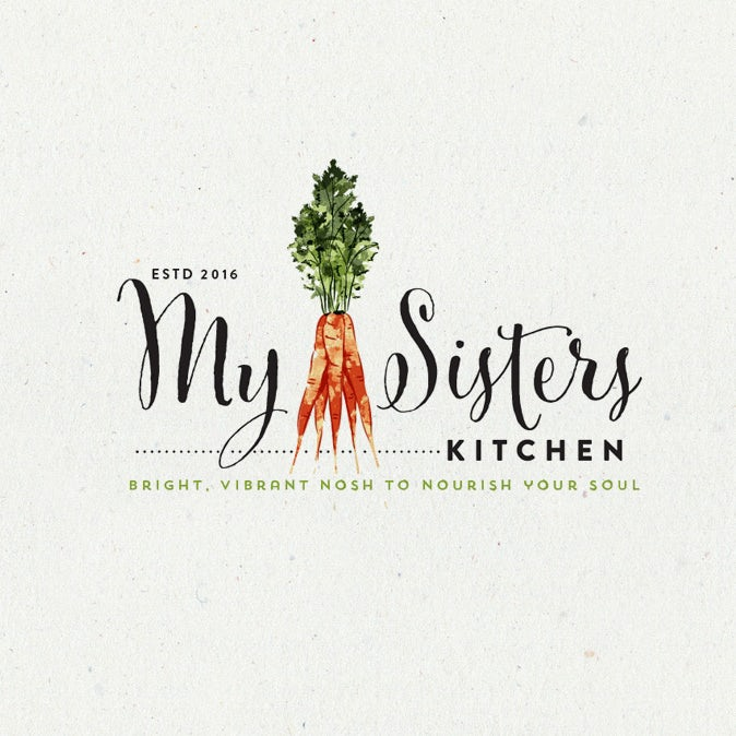 handlettered food logo with illustration of carrots