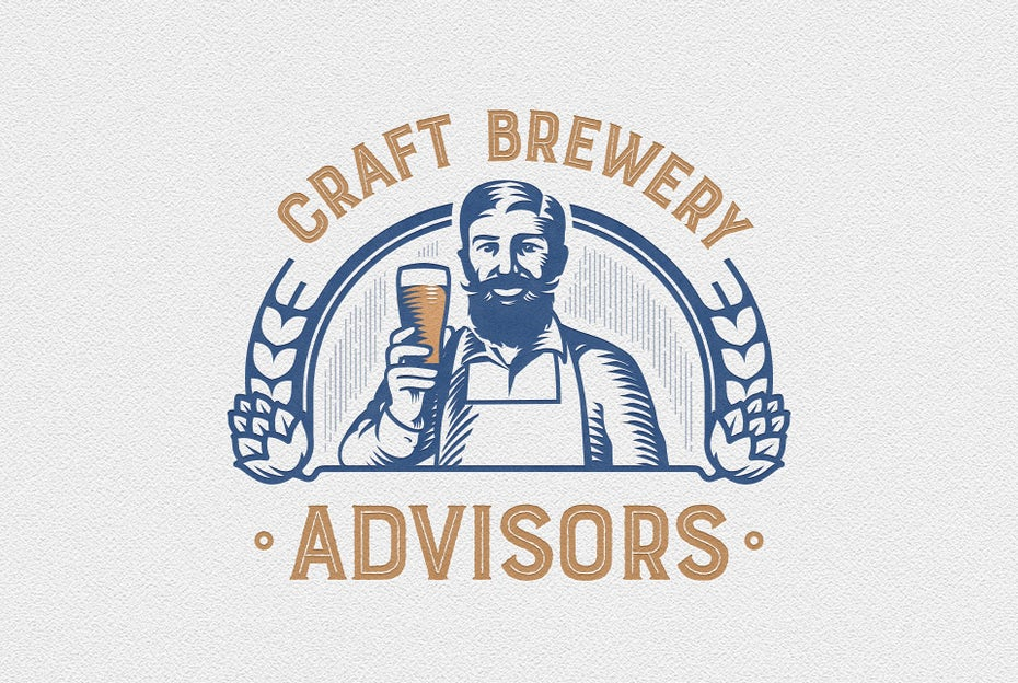 two-tone vintage style advisor logo of a man holding up a glass of beer and smiling at the viewer