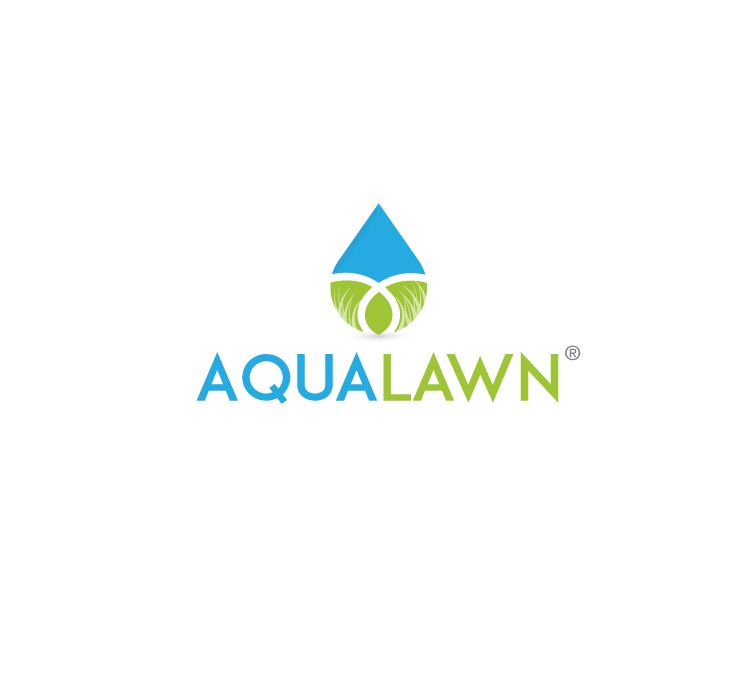 "water droplet, half in blue and half in green, with the text ""Aqualawn"""