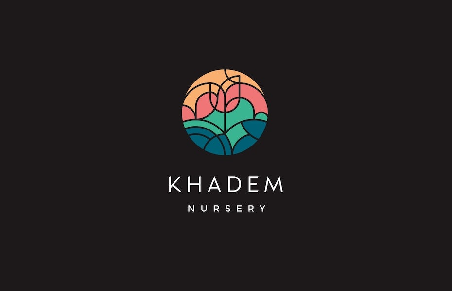 "circular logo comprised of geometric shapes that fit together to create an image of a flower with the text ""Khadem Nursery"""