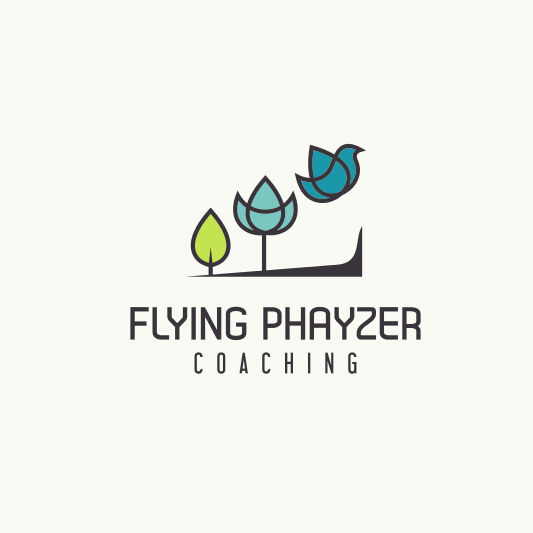 consulting logo with geometric images of a sprout, a tree and a bird aligned left to right