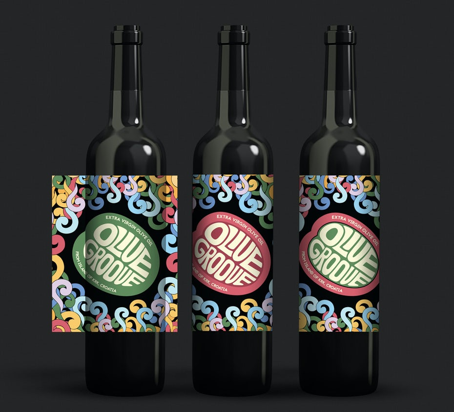 Rainbow label design for olive oil