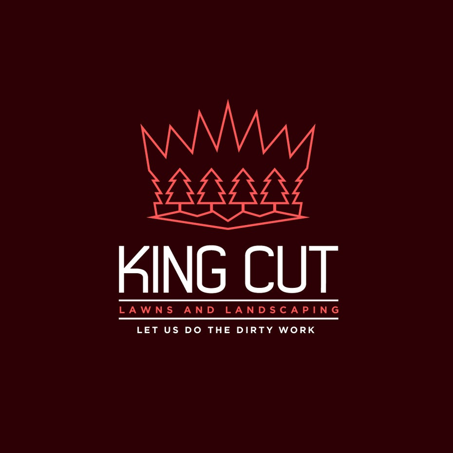 "crown-shaped geometric logo with simple, geometric trees within its outline and the text ""King's Cut Lawns and Landscaping"""
