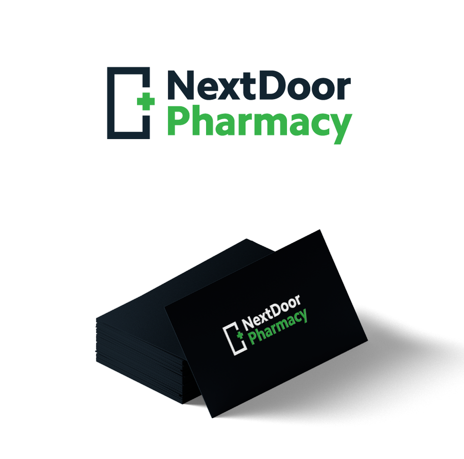 simple bold pharmacy logo with outline of door and green cross