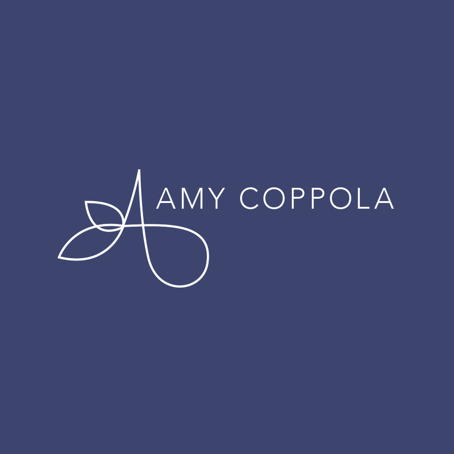 "thin, simple wordmark logo that reads ""Amy Coppola"""