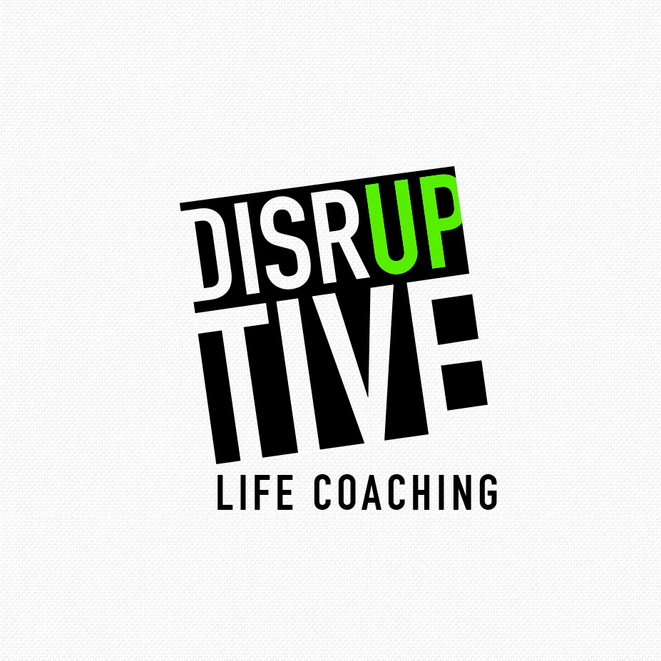 "square coaching logo of the word ""Disruptive"" with the ""up"" in green"