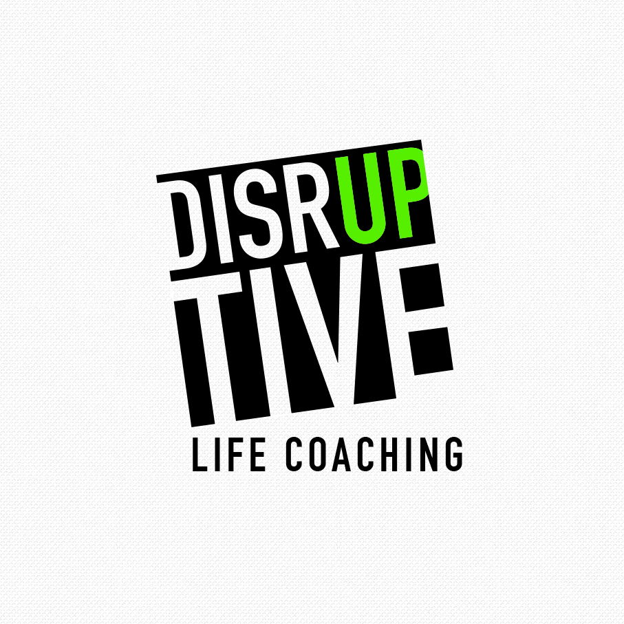 """square logo of the word """"Disruptive"""" with the """"up"""" in green"""