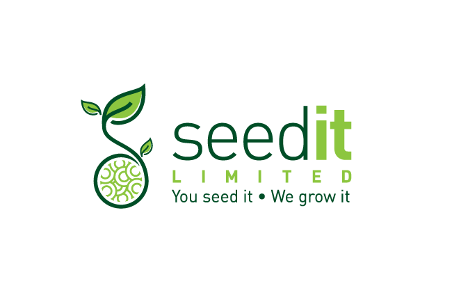 green consultant logo of a plant sprouting from a round collection of seeds