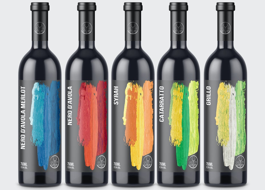 Wine label design with rainbow paint strokes