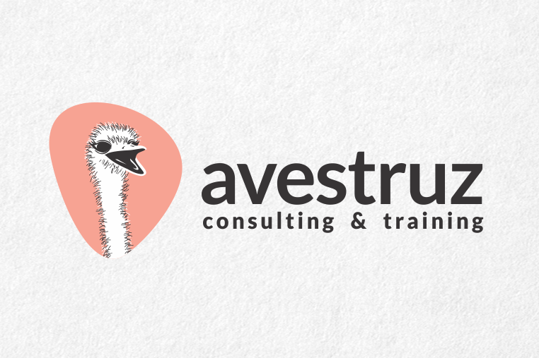 consulting logo with illustration of an ostrich's head with its beak open against a pink geometric background