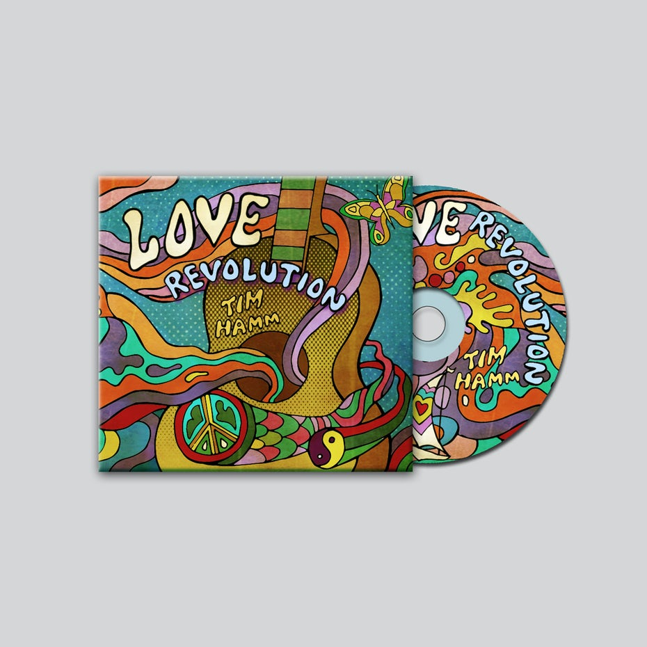 60s style psychedelic colorful album cover