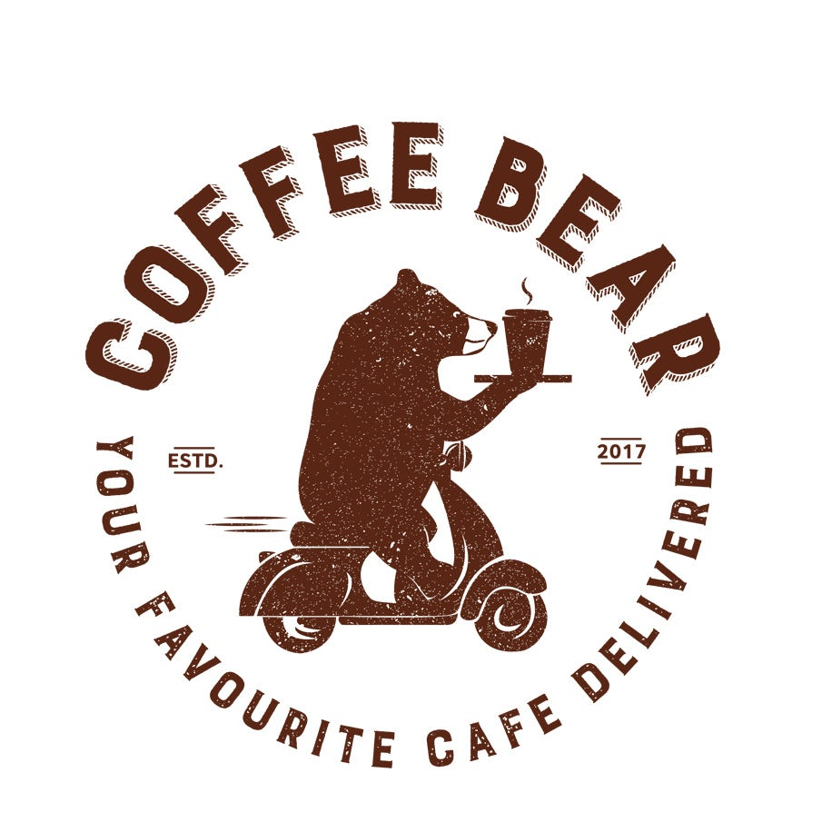 coffee delivery logo with bear on scooter delivering coffee