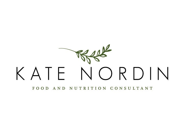 "Simple consulting logo of the name ""Kate Nordin"" beneath a vine with multiple leaves"