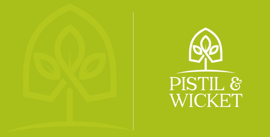 "geometric logo of a plant growing within a small greenhouse with the text ""Pistil & Wicket"""
