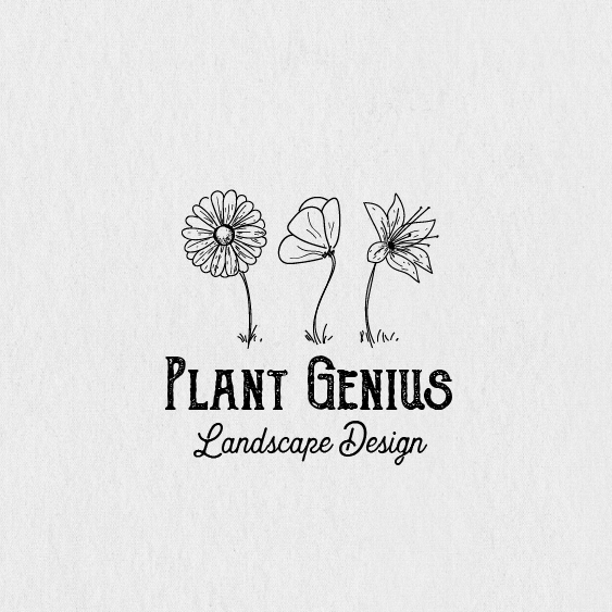 "three line-drawn flowers side by side with the text ""Plant Genius"""