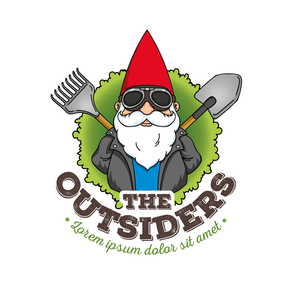 "garden gnome wearing sunglasses and holding a shovel and a rake behind his back with the text ""The Outsiders"""