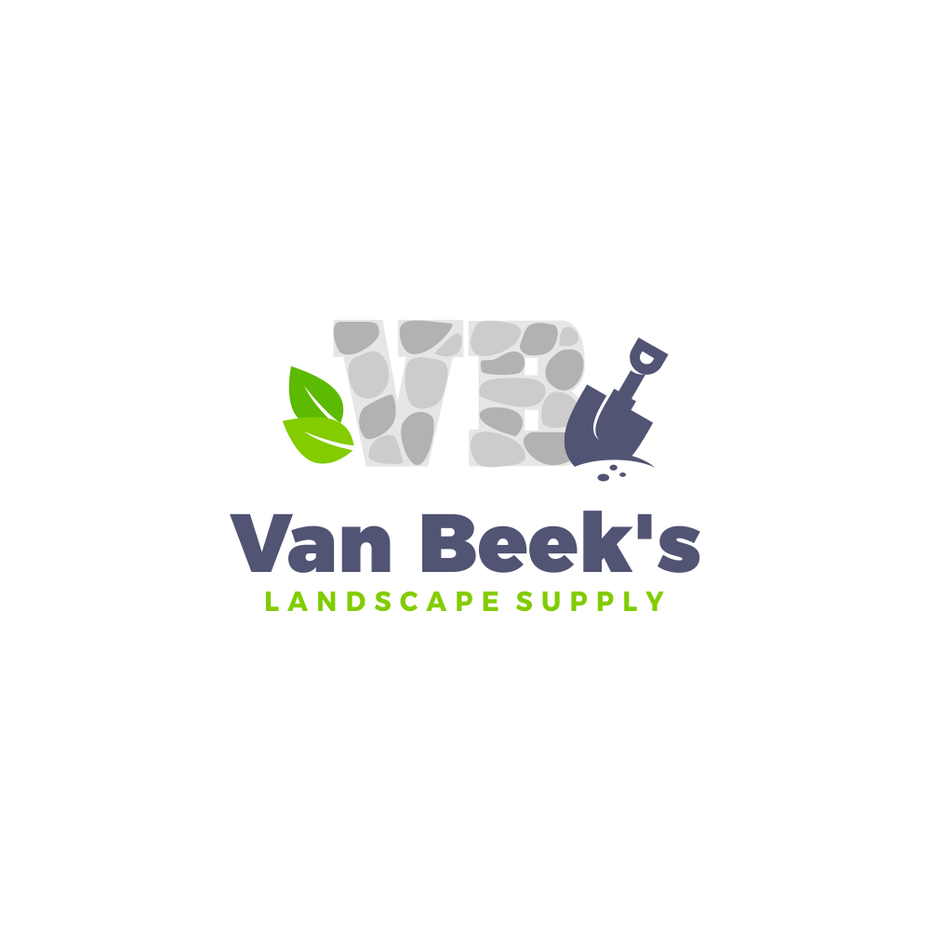 "the initials V and B made of stone next to a shovel and two leaves with the text ""Van Beek's Landscaping Supply"""