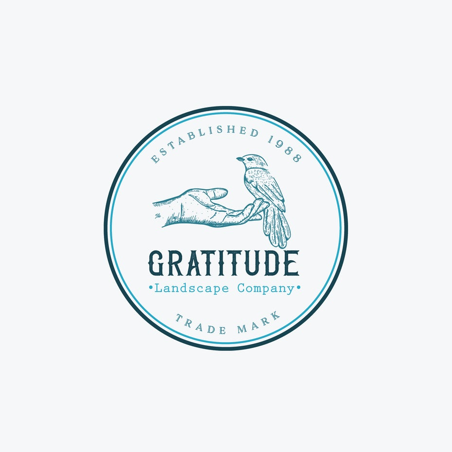 "round blue logo of a human hand outstretched, holding a bird with the text ""Gratitude Landscape Company"""