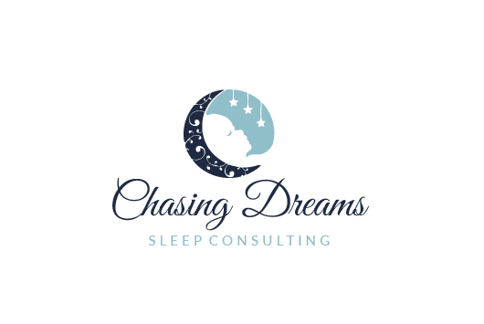 round consultant logo showing a half moon beside a sleeping baby under suspended stars
