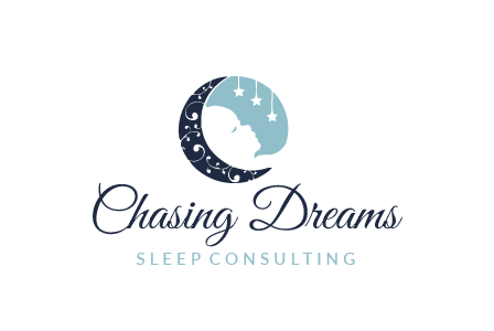 round logo showing a half moon beside a sleeping baby under suspended stars